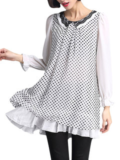 Loose Women Fake Two-piece Dot Patchwork O Neck Pleated Blouse