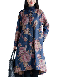Women Ethnic Floral Printed Long Sleeve Single Breasted Cardigan