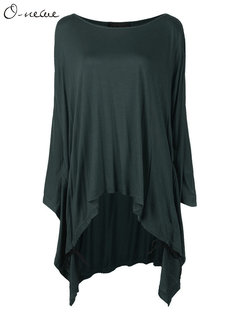 Solid Batwing Sleeve High Low Loose Tops For Women