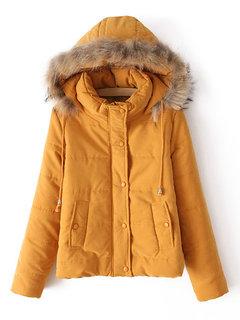 Женщины Повседневная Pure Color стоять воротник с капюшоном пальто