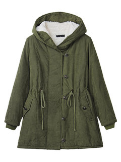 Women Autumn Winter Casual Pure Color Hooded Drawstring Thicken Coat