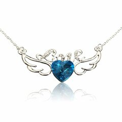 Love Letter Heart Crystal Angel Wings Pendant Necklace