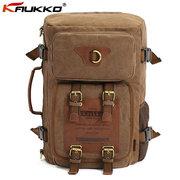KAUKKO Men Canvas Multifunction Backpack Laptop Backpack Travel Crossbody Bag