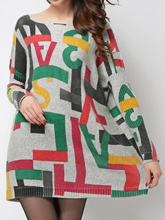 Letter Printed Pullover Knit Long-Sleeve Loose Sweater