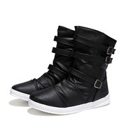 Buckle Mid Calf Side Zipper High Top Boots For Men