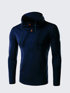 Men's Polo Neck Solid Slim Fit Cotton Blended Long Sleeve T-Shirt