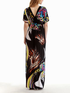 Bohemian Women Printed V-Neck Backless Beach Party Maxi Dress