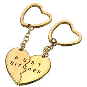 1 Pair Best Bitches Love Heart Couple Keychains