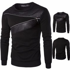 Casual Fashion Leather Splice Pullover Sweatshirts O-Neck Long Sleeve Tops for Men