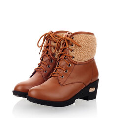 Big Size Folded Lace Up Platform Ankle Boots For Women