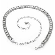 Double Cubic Zirconia Metal Chain Belt