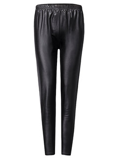 Casual Solid High Waist Stretch Slim PU Leather Pants For Women