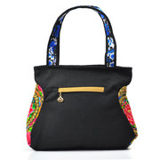 Women Linen Chinese National Style Flower Pattern Handbags Shoulder Bags Totes