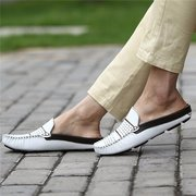 Men Hollow Out Breathable Slip On Open Heel Casual Flat Shoes