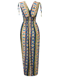 Bohemian V-neck Geometric Sleeveless Women  Maxi Dress