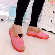 Canvas Color Match Fur Lined Flat Casual Soft Loafers