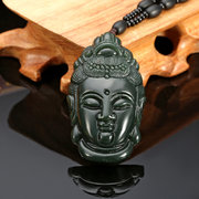 Nephrite Jasper Old Jade Necklace Buddha Head Pendant Beads Men Necklace