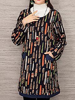 Повседневный Печатается с длинным рукавом O-образным вырезом Хлопок Мини-платье для женщин