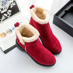 Warm Scrub Short Boots Side Zipper Mid Heel Ankle Shoes