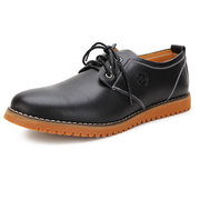 Big Size Men Casual Leather Pure Color Lace Up Flat Oxford Shoes Sneakers