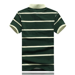 Casual Stripe Cotton Polo Tees Turn-Down Collar Short Sleeve Plus Size T-Shirt For Men