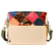 Women Vintage Genuine Leather Colorful Black Shoulder Bags Retro Casual Crossbody Bags