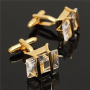 Men Gold White Cufflink Crystal Rectangle Cufflinks Wedding Party Gift Shirt Suit Accessories
