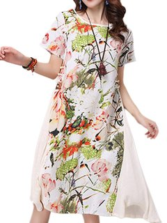 Women Short Sleeve O Neck Floral Printed Ethnic Loose Dress