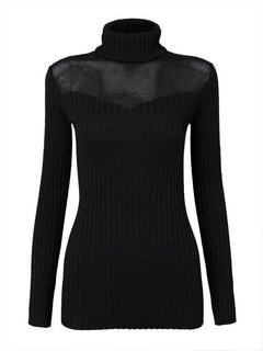 Elegant Women Hollow Turtleneck Long Sleeve Bodycon Pullover Sweater