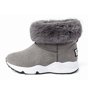 Furry Ankle Pure Color Slip On Fur Lining Boots For Women