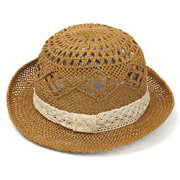 Womens Girl Lace Hollow-Out Summer Beach Sun Jazz Straw Stingy Brim Cap Hat