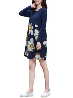 Floral Splicing Long Sleeve Women Elegant Mini Dress