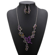 Crystal Butterfly Alloy Necklace Earrings Set