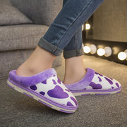 Cow Pattern Fur Color Match Open Heel Home Floor Slippers