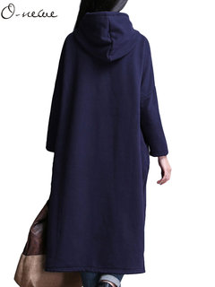 O-NEWE Plus Size Women Casual Solid Color Hooded Long Sleeve Button Thicken Dress