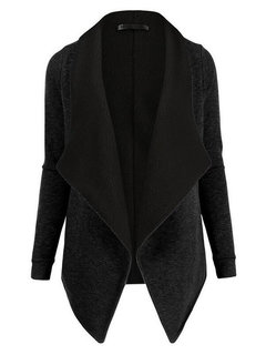 Women Winter Casual Turn-down Collar Long Sleeve Wool Cardigan Coat