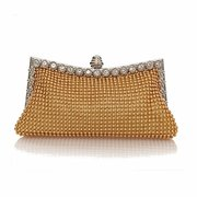 Popular Pearl Crystal Diamante Evening Clutch Wedding Prom Party Handbag Purse Bag