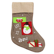 Christmas Gift Santa Snowman Pattern Socks Bags Claus Linen Hanging Stockings