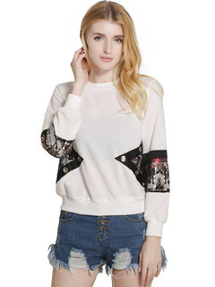 Lztlylzt Women Casual Sequins Stitching Pullover Long Sleeve O-neck Hoodie