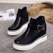 Buckle Heel Increasing Ankle Platform Slip On Boots For Women