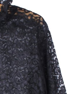 Women Long Sleeve Turtleneck Floral Lace See-through Blouse