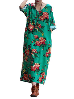 Ethnic Floral Printed  Half Sleeve Dress For Women