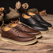 Men's Leather Hollow Out British Breathable Casual Lace Up Oxford Shoes