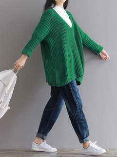 Women Long Sleeve Knit Deep V-Neck Loose Pure Color Sweater