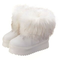 Artificial Fur Slip On Ankle Platfrom Boots