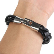 Vintage Braided PU Leather Stainless Steel Cuff Bracelet