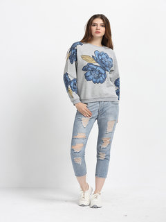 Casual Women Printed O Neck Long Sleeve Pullover Blouse