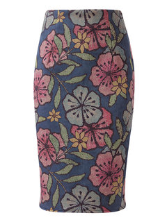 Sexy Fashion Printed Zipper High Waist Package Hip Skirt For Women