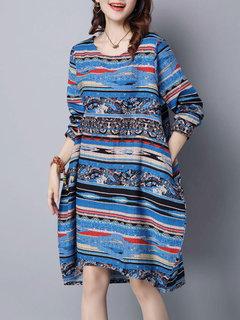 Retro Style Geometric Printed O-Neck Long Sleeve Dress For Women