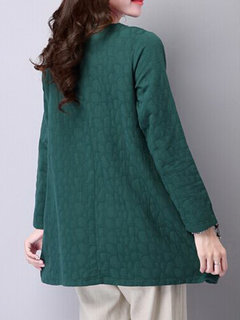 Elegant Loose Pure Color Collar Button Long Sleeve Blouse For Women
